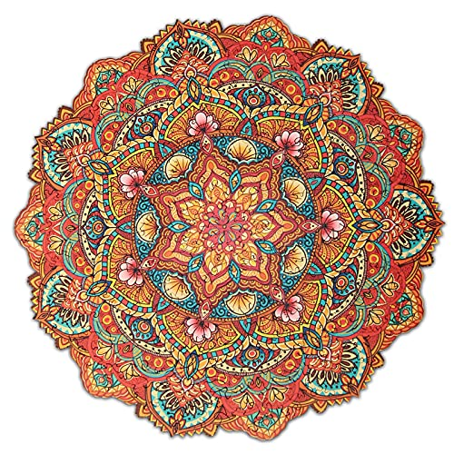 Unicorn Wooden Puzzles for Adults,200 Pieces,The Best Wooden Puzzles Gift for Adults and Kids,Unique Shape Jigsaw Pieces,Rainbow Mandala Wooden Jigsaw Puzzles, 11 х 11 inches