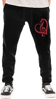 Men's Music Note Heart Sport Cotton Jogger Sweatpants,Running Beam Trousers