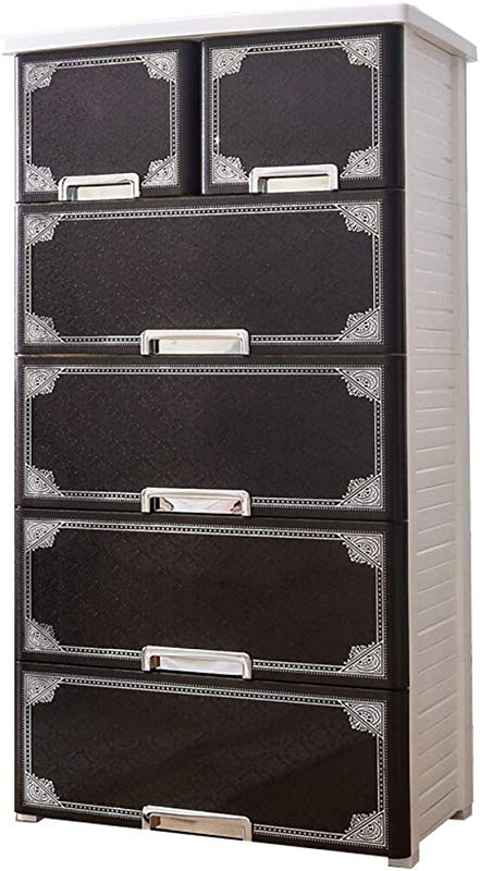 Zzg 2 Drawer Type Storage Box Living Room European Style Plastic Multi Layer Locker Baby Sundries Toy Finishing Cabinet 6040116CM Color Black