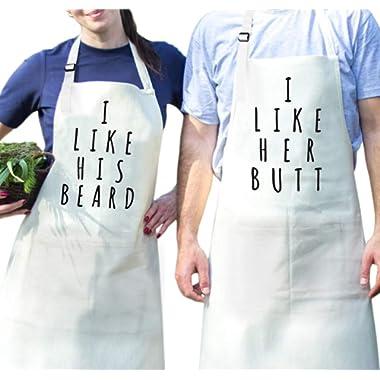 Fodiyaer Couples Cooking Apron Set - Aprons with Pocket for Wedding Engagement