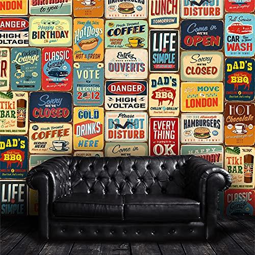 """Walplus 152x161 cm Adhesivos de Pared """"Vintage Letrero Metal Collage"""" 1 Paquete extraíble Autoadhesivo Arte Mural VINILO DECORACIÓN HOGAR BRICOLAJE Living Oficina Dormitorio Decor papel pintado,"""