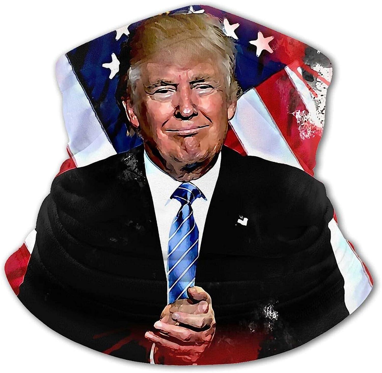 Donald Trump American Flag Painting Kids Neck Gaiter Boys Girls Face Mask, Sun Uv Protection Reusable Balaclava Bandana Half Face Protective Masks Scarf Cycling Black