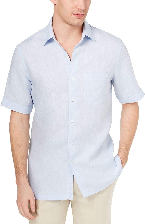 Tasso Elba Mens Cross-Dye Button Up Shirt