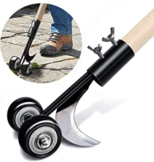 ASDFG Manual Crevice Weeder, Wheel Type Adjustable Garden Weed Removal Tools Crack and Crevice Weeder and Lawn Edger ,for ...