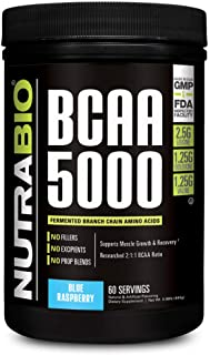NutraBio BCAA 5000 Powder - 60 Servings (Blue Raspberry)