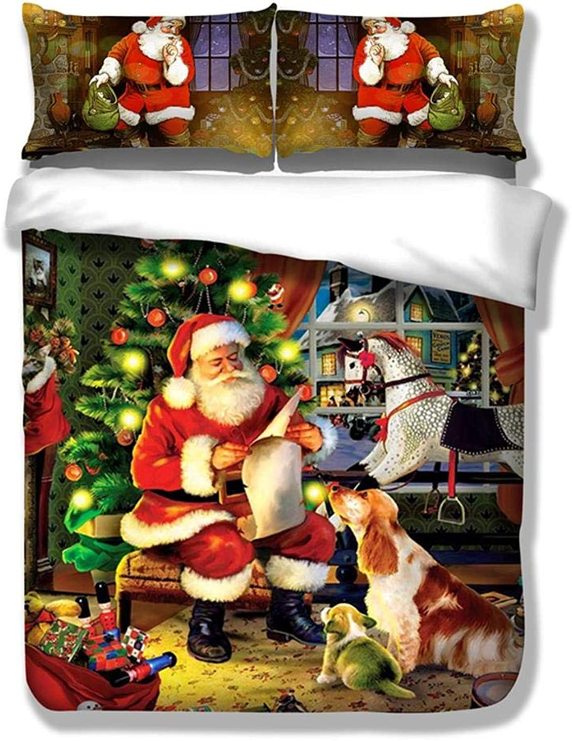 Vivicute 3 PCS Christmas Quilt Cover Pillows Cover Santa Claus Ultra Soft Microfiber Bedroom Bedding Cover Sets