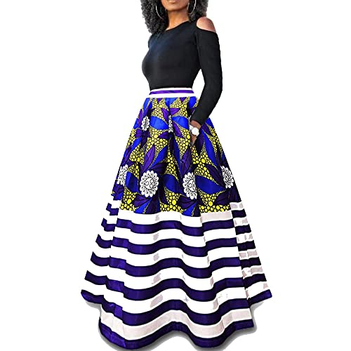75b9ba89e5a Two Pieces Dresses for Women Floral African Maxi Skirt with Pockets Off  Shoulder Top Blouse S