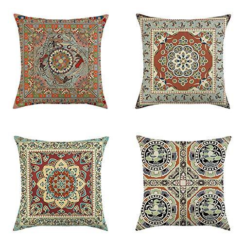 I-Light-U Coperchio di Cuscino di Lino Arabesque Grigio Arabesque Cover per Cuscino di Lino, 45 * 45 cm, 4 Pezzi (Color : D)