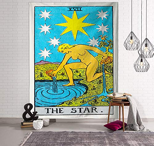 Tapiz Niña Estrella Tapiz Pared Poliéster Decoracion Habitacion Tapices de Pared Tapestry Decoracion Pared Aesthetic Room Decor Con 2 Clavos y 2 Clips 150x100cm