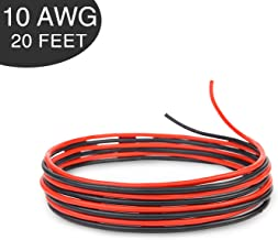Bryne 10 Gauge Ultra Flexible Silicone Wire 20 Ft [10 Ft Red and 10 Ft Black],1050 Strands 0.08mm of Tinned Copper,High and Low Temperature Resistance -60~200 Degree C (10 AWG, Red&Black)