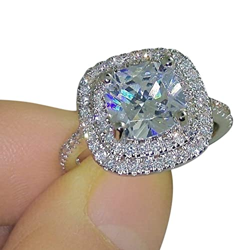 Lovely Pengyu Shiny Large Square Faux Topaz Ring Women Party Banquet Costume  Jewelry Decor