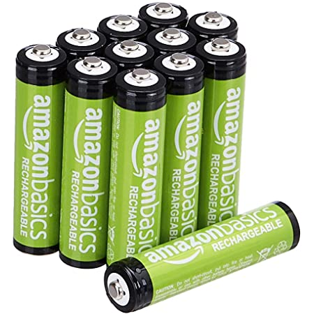Amazon Basics AAA Rechargeable Batteries, Pre-charged - Pack of 12 (Appearance may vary)