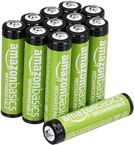 Amazon Basics Piles Rechargeables AAA, Pré-Chargées - Lot de 12
