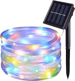 JMEXSUSS 8 Modes Solar Powered Light Rope,39.4ft 120LED Outdoor Solar Rope Lights, Waterproof Solar LED Rope Light for Garden, Fence, Patio, Yard, Wedding, Christmas Tree Decor (Multi-Color)