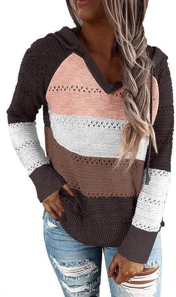 Sweaters For Women Kirbyates Women Color Block Long Sleeve Hollow Out Hoodie Sweater Lightweight Sweatshirts Tops