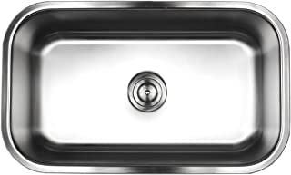 Contempo Living 18-960 30 inch 18 Gauge Stainless Steel Undermount Single Bowl Kitchen Sink 10 inch Deep,