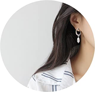 Beauty-OU Baroque Freshwater Pearl Earrings for Women 925 Sterling Silver Korean Personalized Brinco Jewelry YME429
