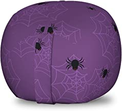 Lunarable Spiderweb Storage Toy Bag Chair, Cartoon Style Spider Pattern and Web Colorful Illustration, Stuffed Animal Organizer Washable Bag for Kids, Small Size, Eggplant Grey