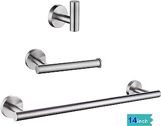 gotonovo 3 Piece Bathroom Accessories Set Brushed Nickel SUS304 Stainless Steel Bath Hardware Kit Wall Mount 14 Inch Towel Bar Toilet Paper Holder Robe Hook