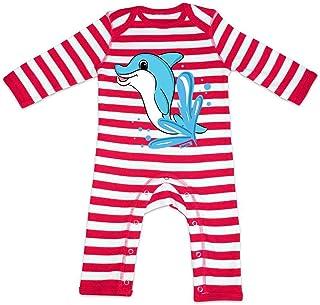 HARIZ HARIZ Baby Strampler Streifen Delfin Springend Tiere Kindergarten Inkl. Geschenk Karte Feuerwehr Rot/Washed Weiß 6-12 Monate