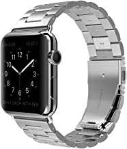 Shengbiao Compatible with Apple Watch Band 42mm 44mm,Stainless Steel Men iWatch Wristband Metal Strap Replacement Link Bracelet for Apple Watch Series 4 3 2 1 (42/44mm Silver)