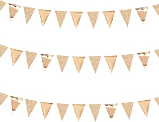30 Ft Champagne Gold Double Sided Glitter Metallic Triangle Flag Bunting Pennant Banner for Wedding Birthday Holiday Festivals Anniversary Bridal Shower Hen Party Theme Party Decoration Supplies