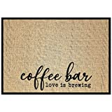 """New Mungo Coffee Bar Mat - Coffee Bar Decor for Coffee Station - Coffee Bar Accessories for Coffee Decor - Love is Brewing Coffee Mat - Burlap Placemat with Fabric Backing - 20""""x14"""""""