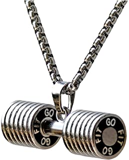 JAJAFOOK Jewelry Mens Women`s Stainless Steel Fitness Gym Dumbbell Barbell Chain Pendant Necklace