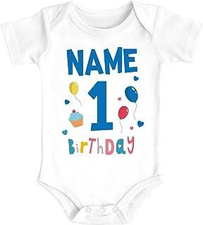 MoonWorks Babybody personalisiert Name erster Geburtstag Zahl 1 Birthday Kurzarm Body Bio-Baumwolle