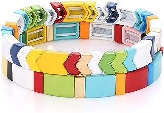 PHALIN Tile Bracelets Set Rainbow Enamel Tile Bead Stretch Bracelets Colorful Elastic Stackable Strand Bangle Bracelets Ha...