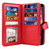 NEXTKIN Case Compatible with LG Stylo 3 Stylus 3 LS777 / Stylo 3 Plus, Leather Dual Wallet Folio TPU Cover, 2 Pockets Double Flap, Multi Card Slots Snap Button Strap for LG Stylo 3 Stylus 3 - Red
