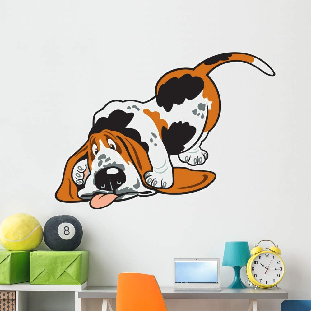 Wallmonkeys Cartoon Basset Wall Decal Grap supreme Animal Max 71% OFF and Stick Peel