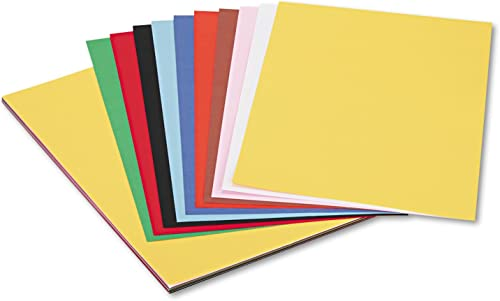 Peacock Sulphite Construction Paper, 76 lbs., 12 x 18, Assorted, 50 Sheets Pack