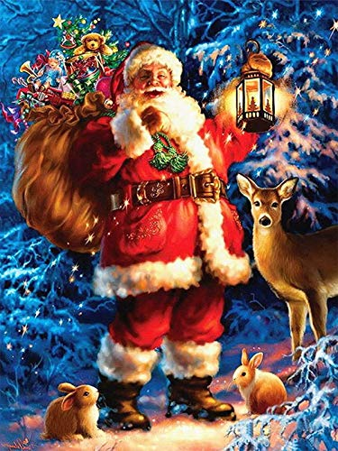 Diamond Painting Kit For Adults_ChristmasSanta Claus Diamond Painting_Diamond Embroidery Paintings Cross Stitch Art Crafts for Home Paintings Pictures for Home Wall Living Room Decoration 30x40cm