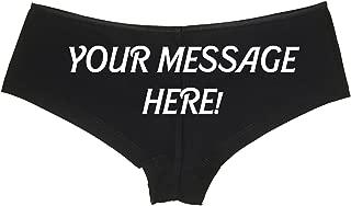 Personalized Your Message Black Panties Knaughty Naughty Knickers Boyshort Underwear