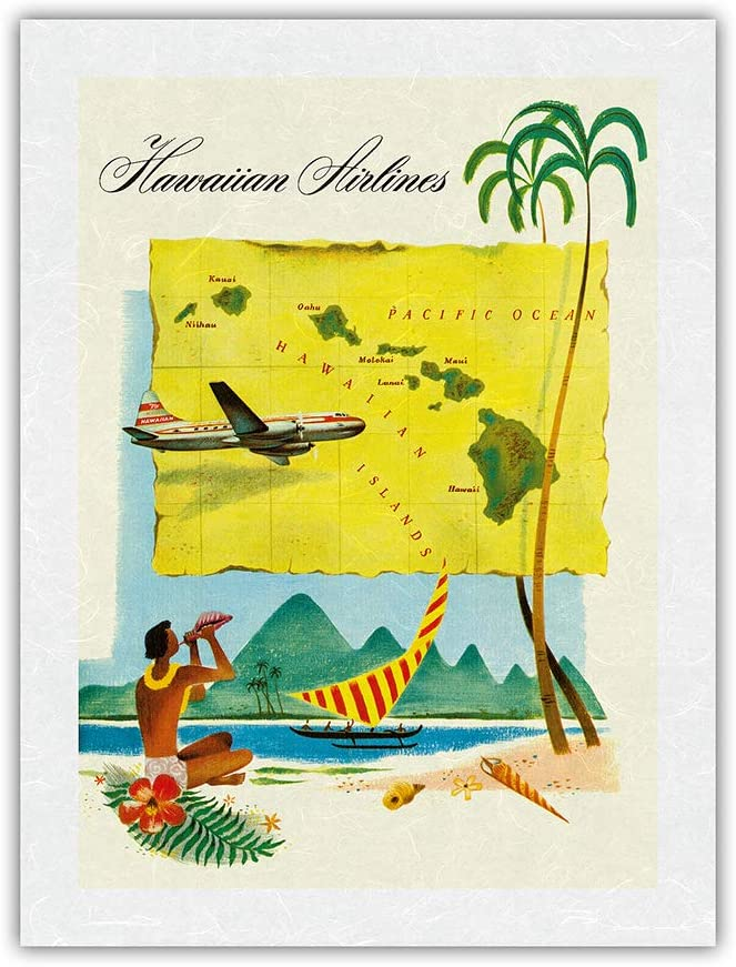 Hawaii Route [宅送] Map デポー - Hawaiian Vintage Poster Airlines Travel c.1