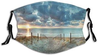 KASMILN Ocean Beach Scenic Spot North Holland Brown Sunset Blue Sky Seaside Landscape Sand Fabric Half Face Mask Mouth Masks with Earmuffs Anti Dust Anti Haze Windproof Mask