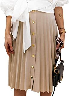 Women's Accordion Pleated Button Down Midi Skirt for Work...