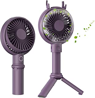 BENKS Ventiladores USB de 3350mAh Recargable Mini Ventiladores de Mano Ventilador de soporte 3 Velocidades portátil Eléctrico Ventilador 3-13H para el hogar al Aire Libre el Que Viajes Acampa -Púrpura