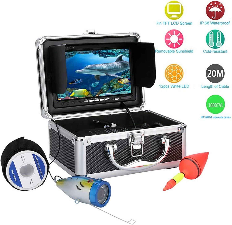 DYWLQ Unterwasserfischfinder 20M Professionelle Angelvideokamera mit 7 TFT-Farb-LCD-HD-Monitor 1000tvl CCD-Kabellnge mit Tragetasche, Spa zu sehen, Fische beien