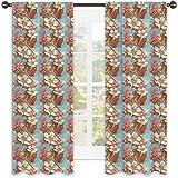 Tenda isolata per ombreggiatura astratta, Schema di colori vintage con composizione floreale fiori selvatici fogliame San Valentino, tonalità insonorizzate, W52 x L54 pollici multicolore