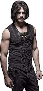 Man Cotton Leather Belt Sleeveless T-Shirt Front Strap...