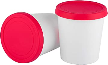 StarPack Home Ice Cream Freezer Storage Containers Set of 2 with Silicone Lids