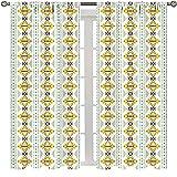 Cortina abstracta colorida para dormitorio con diseño simétrico, inspirado en azteca, diseño simétrico, diseño tribal, multicolor para dormitorio, cortinas de estilo minimalista de 63 x 63 pulgadas