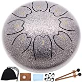 Steel Drum Tongue Drums,8 Notes 6 Inches Percussion Instrument Handpan Drum Panda Drum with Carry Bag Couple of Mallets Music Book for Musical Education Concert Mind Healing Yoga Meditation.