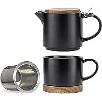 Taimei Teatime Ceramic Modern Black Teapot Set 10-oz Deals