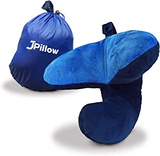 J-Pillow Travel Pillow + Carry Bag - British Invention of The Year, 2019 Version with Increased 3D Support for Head, Chin & Neck in Any Sitting Position, Attaches to Luggage - (Blue)
