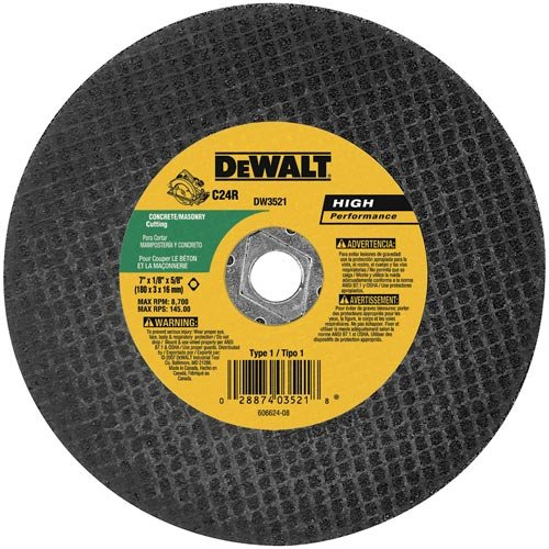 DEWALT DW3521B5 7-Inch High Performance Masonry Cutting Abrasive Saw Blades, 5-Pack