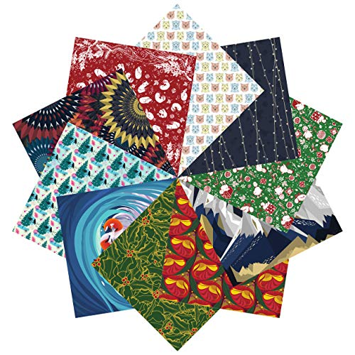 Folded Square Origami – Set de regalo de papel de origami navideño | 100 Hojas, 15cm Cuadrado | Colección Uno