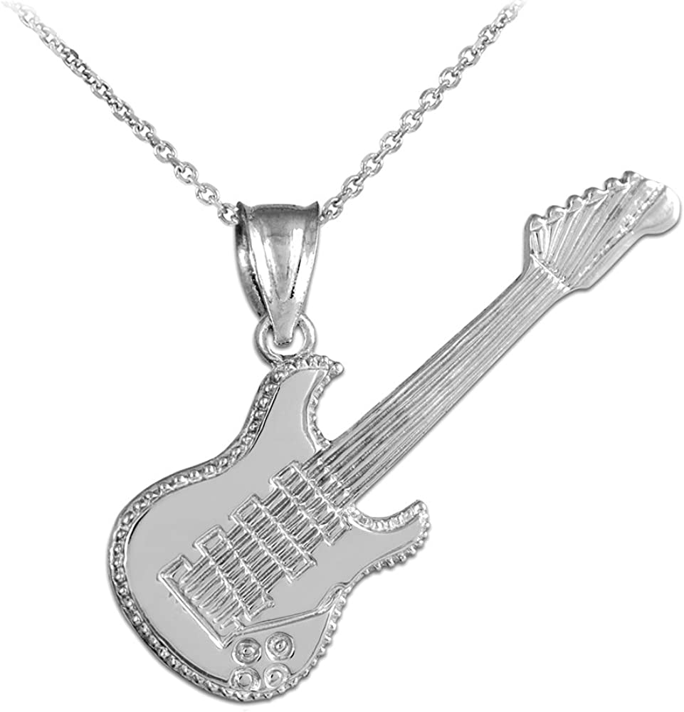 NEW Gray Guitar Crystal Pendant Music Charm Stainless Steel Necklace Jewelry